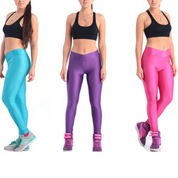 White Leggings Xl Canada - Womens sports leggings Candy Color Stretch Fluorescence pants High waist Bodybuilding Yoga Tights XL Free Shipping