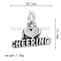 Alloy Sports Canada - Free shipping New Arrivial12pcs a lot zinc alloy I love cheering sport charm charms rose
