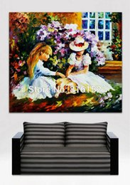 $enCountryForm.capitalKeyWord NZ - Palette Knife Painting Sweet Time With Friends in The Garden Figure Painting Printed on Canvas for Home Hotel Wall Art Decor