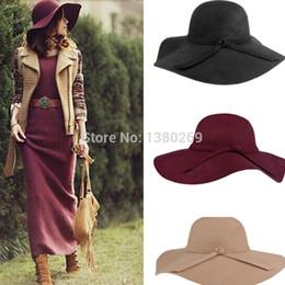48ca9eb0a88 Wholesale-Fashion Women Lady Wide Brim 100% Wool Felt Bowler Fedora Hats  Floppy Cloche Free Shipping tea