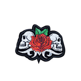 Chinese  1 PCS Twins Skull with Rose Embroidery Patches for Clothing Iron on Transfer Applique Patch for Garment Jackets DIY Sew on Embroidery Badge manufacturers