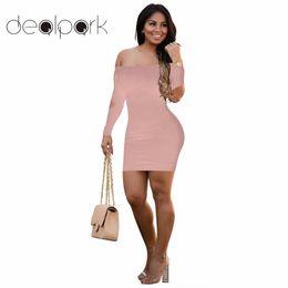 Backless cluBwear mini dress online shopping - Sexy Women Bodycon Dress Slim Solid Color Off Shoulder Backless Cut Out Long Sleeve Bandage Mini Dress Autumn Night Clubwear q1113