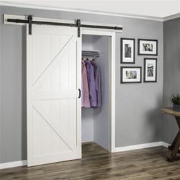 USA Warehouse J Shape 6ft 6.6ft 8ft 10ft Single Double Black Antique Style  Steel Sliding Barn Door Hardware Kit Wooden Closet Door