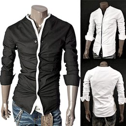 Collarless shirts for mens online custom shirt for Collarless white shirt slim fit