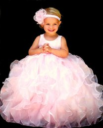 Robe Courte Petite Fille Pas Cher-Pink Organza Ball Gown Flower Robes de filles Scoop Neck sans manches à la dérive avec Bow Floor-Length avec Zipper Little Girls Party Dresses Hot