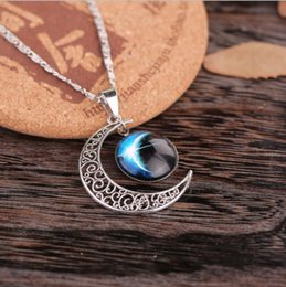 $enCountryForm.capitalKeyWord Canada - 2015 New Stylish Women Fashion Galactic Glass Cabochon Pendant Silver-Tone Crescent Moon Pendant Necklace Lady