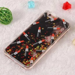 Iphone 5s case for women online shopping - Lipstick Women Quicksand Glitter Star Hard PC Case Clear Flow Sandglass Running Dynamic For Iphone Plus S I6 S TH Skin Luxury