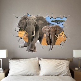 Hot Sale 3D Elephants Catoon Wall Decals, Living Room Bedroom Removable Wall  Stickers Murals Free Shipping Part 60