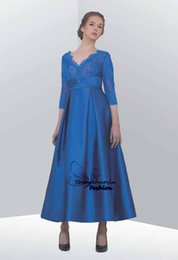 Barato Comprimento Do Chá Vestido De Gola Pl-2016 Elegant Lace Prom Evening Gowns com 3 / 4Long Sleeve A-Line V-Neck Appliques Pleated Tea-Length Vestidos de noite formal Vestido da mãe