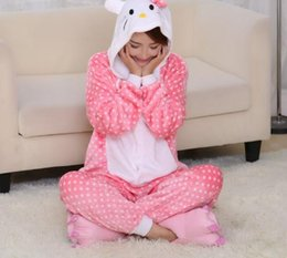 Costume Chat De Noël Pas Cher-Bonjour kitty chat costume fursuit costume jumpsuits Halloween costume de Noël pour hommes femme Pooh Kigurumi pyjamas Animal Cosplay Outfit Adulte