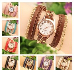 Discount wrap watch wholesale - 2015 Hot Women Watches Lady Wrap Wrist watch Round Dial Charming Bracelets braided rope Watches Mix 9Colors Free Shippin