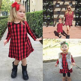 Discount chinese dress - New Chritmas baby girl plaid dress long sleeve asymmetrical girls dresses vestidos kid clothing baby clothes princess dr