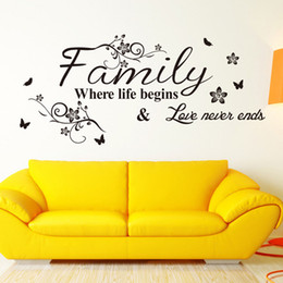 family love wall decor Canada - Family Where Life Begins Love Never Ends Wall Quote Decal Sticker Black Flowers Tree Branches Butterfly Wall Art Mural Decor Poster
