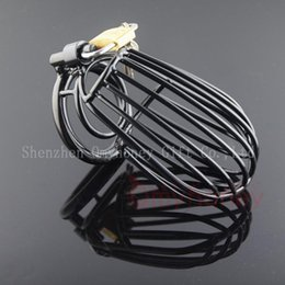 Black Male Cock Cage Canada - luxury bondage male chastity devices belt stainless steel lockable black cock cage penis ring cage, dildo cages,sex toys for men, SM441