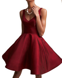 Discount plus size bandage - Simple Style Satin V-Neck Homecoming Dresses Sleeveless A-Line Mini Knee Length 2018 Short Prom Dress Cocktail Party Clu