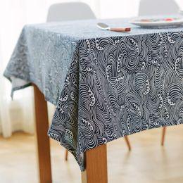 $enCountryForm.capitalKeyWord NZ - 60x60-140x250cm linen Japanese style Sea waves Fish scales Table Cloth Pastoral Multi-dust tablecloths Manteles Tablecloths Rectangular Tabl