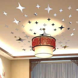 Discount chinese beds - 50 Pieces Star Shape 3D Acrylic Wall Stickers Living Room Bed Room Ceiling Mirror Wall Sticker Home Decoration q171130