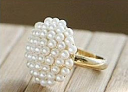 Vintage pearl ring gold online shopping - Women Elegant Vintage Gold filled Mushroom Shaped Pearl Ring White Gift