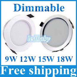 Led recessed ceiLing cabinet Light online shopping - 9W W W W Dimmable Led Ceiling Downlight Lamp Led Recessed Light Silver White Shell Led Cabinet Lamps AC V