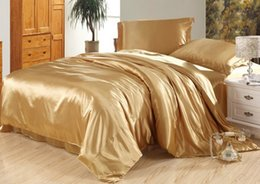 Queen Size Satin Sheet Sets Canada - 7pcs Luxury camel tanning silk bedding set satin sheets super king queen full twin size duvet cover bedsheet fitted bed in a bag quilt