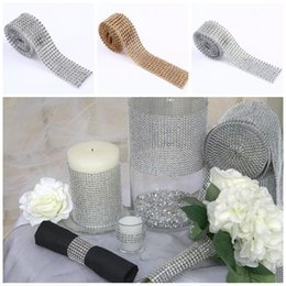 Taille Bling Pas Cher-2016 mailles en losange en strass cristal Ruban Autocollants garniture Wrap ruban sparkle bling décoration de mariage Parti Decor E461J
