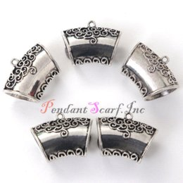 Chinese  12 Pieces lot Wholesale Silver Metal DIY Pendant Jewellery Scarf Slide Bails Tube Jewelry Accessories AC0277A Pendants manufacturers