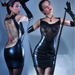 Woman S Sexy Pvc Dress Canada - Plus S-XXL 2015 Hot Women Sexy Leather Latex Dress Front Transparent Gauze Bodycon Dress Sexy Queen Stripper Pole Dance Clubwear