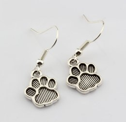 Brass copper earrings online shopping - Hot pair Antique silver Paw Print Charms Earrings With Fish hook Ear Wire X mm