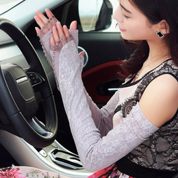 Thin Arm Sleeves Canada - Wholesale-New 2015 Summer Autumn Sunscreen Gloves Women Anti UV Thin Summertime Length Section Drive Long Sleeve Mittens Hot Arm Warmer