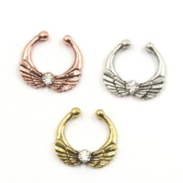 $enCountryForm.capitalKeyWord NZ - 10pcs crystal wing septum jewelry nose rings and studs alloy gold and silver nose ring septum fake piercing for women N0045