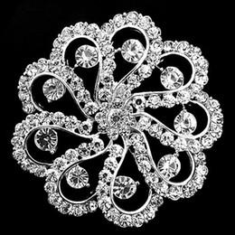$enCountryForm.capitalKeyWord NZ - Sparkly Silver Plated 2.45 Inch Clear Rhinestone Diamante Crystal Flower Wedding Bouquet Bridal Brooch Pins