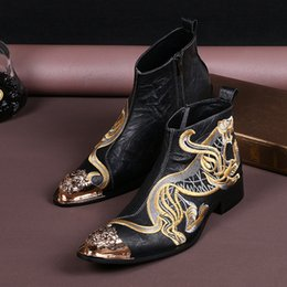 Male Style Boot Shoes Canada - England Style New Design High Quality Embroidery Animals Fashion Boots Male Black Shoes Slip-On Ankle Boots Party Genuine Leather Oxfords