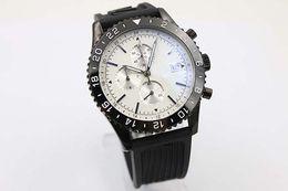 b908ad80b499 Milky Big Dial Black Silicone Skeleton Quartz Chronograph Men s Wristwatch  Rubber Belt Y24310 Chronometer Certified Stopwatch Male Watch