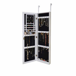 Wooden Mirrored Jewelry Cabinet Armoire Cosmetic Organizer Storage With Lock Wall Mounted Or Hang On The Door