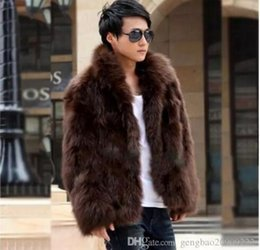 Barato Casaco Marrom Homem-New Fashion Winter Faux Fur Jaqueta Hoodies Casaco de pele Brown White Men Long Sleeves Roupas Winter Outerwear
