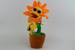 voice activate toys Canada - New Hot Sale Sunflower LED Voice-activated Funny Sax Guitar Accordion Ugly Sunflower Music Dancing Plush Toy Free Shipping