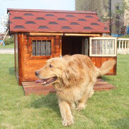 wood dog houses Canada - Outdoor waterproof solid wood small Large Dog house Labrador dog kennel dog room Tactic golden cage