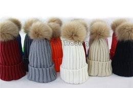 $enCountryForm.capitalKeyWord Canada - Soft Knitted Hat Raccoon Fur Ball Cap Fashion Crochet Beanie Elegant Women Hat Winter And Fall Beanies Knit Caps 10Pcs 9 Colors