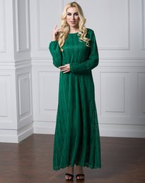 New Women O-Neck Long Sleeved Maxi Dress Plus Size Muslim Women Pure Color  Lace Kaftan Dress L-6XL eb72a0849bc6