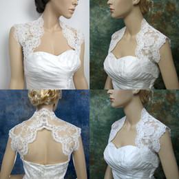 HigH neck lace bolero jacket online shopping - 2015 Exquisite Lace Wedding Bridal Bolero Jackets High Neck Sleeveless Wrap White Chinese Bridal Jacket Wraps Cheap