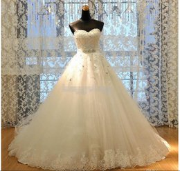 Discount best ball gown wedding dresses - Newest Real Image Princess A-Line Lace Wedding Dresses 2015 Appliques W1420 Romantic Bridal Gowns Rhinestones Dazzling C