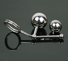 double plug chastity 2018 - Anal Ball Stainless Steel Hollow Hook Butt Ball with Cock Ring Men Anal Sex Plug Chastity Device Double Balls Styling To