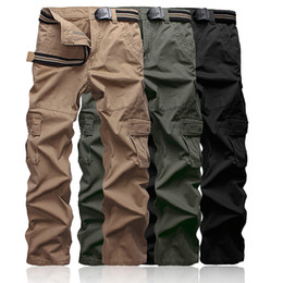 Wholesale work pants resale online - Plus size Men s Cargo Pants Khaki High Quality Casual Camouflage Mens Multi Pocket Pants Long Military Army Work Trousers