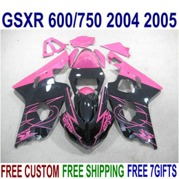 Full Set Fairings NZ - ABS full fairing kit for SUZUKI GSXR600 GSXR750 2004 2005 K4 GSX-R600 750 04 05 black red high grade fairings set R45J
