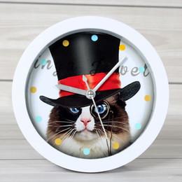Cartoon animal cat lounged small alarm clock cat clock home desktop clock and watch mute on Sale