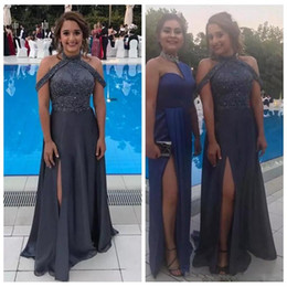 Grey sequin red carpet dress online shopping - Halter Grey Chiffon A Line Formal Evening Dresses Lace Appliques Beading Sequins Special Occasion Prom Gowns Sleeveless Split