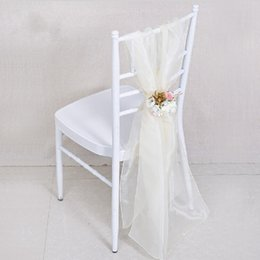 wholesale flower chair covers UK - European Style White Wedding Centerpieces Chair Sash with Big Artificial Flower Party Banquet Decorations Chiffon Chair Covers Accessories
