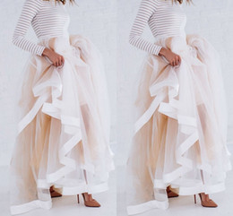 New Design Tulle Maxi Skirt with Satin Ribbon Edge Champagne Ruffled  Stylish Skirts for Women Sexy Woman Long Winter Skirts b7905e63e