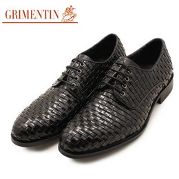 Grimentin Shoes UK - GRIMENTIN Fashion Italian Brand Men Dress Shoes Hot Sale Shoes Genuine Leather Braided Round Toe Mens Business Formal Wedding Male Shoes