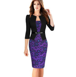 Discount hot business women office Hot Fashion Sexy Office Lady Pencil Dresses Women business attire Patchwork 3 4 Sleeve Lace Slim Plus Size Dress XXXL